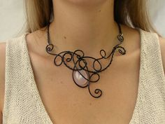 Baby Pink Rose Quartz Black Wire Necklace, Wire Wrapped , Statement Neckace, Bib Necklace, Wire Jewelry, Swirls