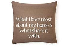 """Home"" 20x20 Cotton Pillow, Brown on OneKingsLane.com"