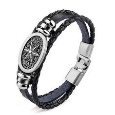 awesome  New Fashion Bracelet Men Women's Vintage Leather Belt Wristband Bangle Black - For Sale View more at http://shipperscentral.com/wp/product/new-fashion-bracelet-men-womens-vintage-leather-belt-wristband-bangle-black-for-sale/