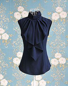 Vintage Turtleneck Ruffles Two Buttons Sleeveless Women's Blouse