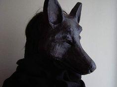 Halloween mask Black dog mask Wolf mask Wolf head by EpicFantasy Halloween Masks, Fall Halloween, Creepy Animals, Paper Mache Mask, Wolf Mask, Bear Mask, Monster Mask, Mask Template, Half Face Mask