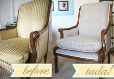 DIY chair redo. gathered cushion is different and cute