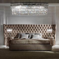 Button Upholstered Leather Italian Bed with Extended Headboard at Juliettes Interiors - Chelsea, London. Luxury Bedroom Furniture, Master Bedroom Interior, Bedroom Bed Design, Home Room Design, Luxury Bedding, Furniture Design, Wooden Furniture, Custom Furniture, Antique Furniture