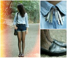 (Zoe Suen) Forever 21 Necklace, H Tights, Levi's Shorts (Vintage)