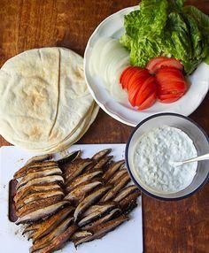 Portobello Mushroom Pita Gyros -- gorgeous photos! And she makes her own gyro spice mix.