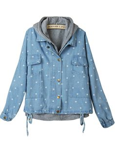 Blue Hooded Polka Dot Drawstring Two Pieces Outerwear US$31.97
