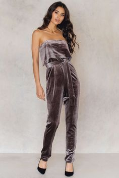 2d2c22e029 Our love for this jumpsuit is endless! The Velvet Bandeau Cropped Tie Front  Jumpsuit by