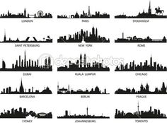 Vector silhouettes of the city skylines — Stock Illustration #16258191