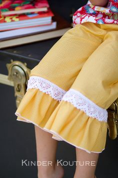 Lacey Ruffle Pants - Corduroy, Denim, and Cotton, Sizes 1-5. $32.00, via Etsy.