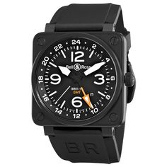 BELL AND ROSS GMT BR-01-93 GMT GENTS BLACK RUBBER STAINLESS STEEL CASE WATCH
