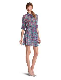 Bcbgeneration Women's Pleated Skirt Shirt Dress, Dark Violet Multi, X-small