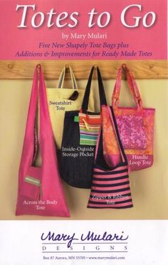 Totes to Go Five new shapely tote bags plus additions & Improvements for ready made totes by GreenCarbon2112 for $3.00