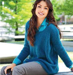 Описание вязания на спицах синего пуловера из журнала «Verena. Модное вязание» №2/2014