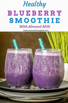 This Healthy Blueberry Smoothie With Almond Milk makes an easy breakfast or snack for adults and children. A great way to kick-start your day. Easily make this Vitamix Blueberry Smoothie Recipe with fresh or frozen berries, yogurt, almond milk, flax seeds Smoothie Fruit, Smoothie Prep, Strawberry Smoothie, Smoothie Bowl, Healthy Smoothies, Smoothie Recipes, Healthy Milk, Healthy Blueberry Smoothie, Blueberry Juice