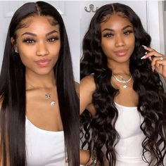Asteria Hair Super Long Straight Hair Lace Wigs For African American Women Virgin Brazilian Human Hair Lace Front Wigs Lace Frontal Wig Curly Hair Styles, Natural Hair Styles, Straight Lace Front Wigs, Front Lace, Straight Bangs, Straight Hair Weave, Long Curly Weave, Straight Ponytail, Curly Lace Front Wigs