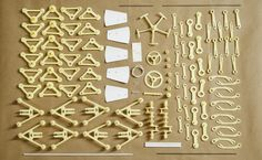 All of the components to build Theo Jansen's Strand Beast, Animaris Ordis Parvus.