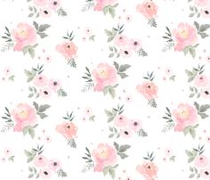 Sweet Blush Roses #wallpaper & #fabric by shopcabin on Spoonflower - The PERFECT look for a beautiful nursery