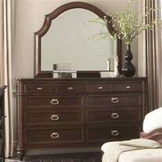 Sherwood Traditional Red Brown Wood Dresser