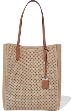 MICHAEL KORS Eleanor Leather-Trimmed Perforated Suede Tote. #michaelkors #bags #hand bags #suede #tote #