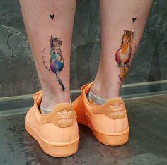 Cats and Mini Hearts Tattoos by Simona Blanar