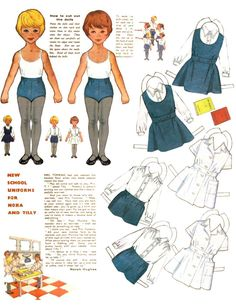 Nora and Tilly paper dolls: School uniforms, 1955-mid 60s Woman and Home, UK