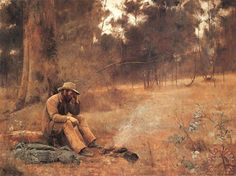 Down on his luck. 1889 (Frederick McCubbin February 1855 – 20 December was an Australian painter who was prominent in the Heidelberg School, one of the more important periods in Australia's visual arts history. Australian Painting, Australian Artists, Old Master, Landscape Paintings, Landscapes, Landscape Art, Oil Paintings, Landscape Photography, Earth Tones