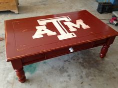 $10 coffee table turned into an Aggie masterpiece! College Packing, College Fun, Texas A M Football, Aggie Ring, College Apartments, Texas A&m, Tailgating, Game Room, Cowboys