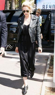 On Kristen Stewart: Cushnie et Ochs Sadie Contrast Stripe Jacquard Dress ($1495); Freda Salvador Wish Handwoven Oxfords ($425) in Black. Similar Style: Madewell Ultimate Leather Motorcycle Jacket...