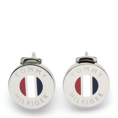 Tommy Hilfiger's stud earrings with enamel stripes in signature colours at the centre.