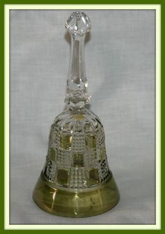 BELL-CUT GLASS CRYSTAL-PATCH WORK STYLE- OLIVE GREEN / CLEAR