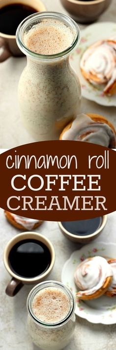 """Homemade Cinnamon Roll Coffee Creamer€"""" a 5-minute coffee creamer that requires only 5 ingredients and tastes exactly like your favorite cinnamon rolls! Your mornings deserve to be a little sweeter!"""