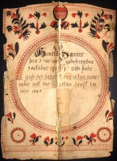 FRAKTUR BIRTH AND MARRIAGE CERTIFICATE ATTRIBUTED TO CROSS-LEGGED ANGEL ARTIST #Americana