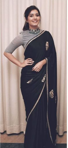 """Saree and blouses Article Physique: Purses are the brand new footwear, the will need to have """"it"""" ac Black Saree Designs, Saree Jacket Designs, Saree Wearing Styles, Saree Styles, Kerala Saree Blouse Designs, Saree Designs Party Wear, Sarees For Girls, Indian Wedding Outfits, Indian Outfits"""