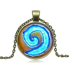 XUSHUI XJ WoW World of Warcraft Hearthstone Glass  Pendant Necklace Vintage Bronze Chain Necklaces & Pendants Women Jewelry Gift