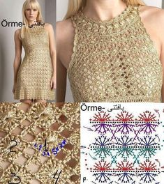 Fabulous Crochet a Little Black Crochet Dress Ideas. Georgeous Crochet a Little Black Crochet Dress Ideas. Col Crochet, Crochet Woman, Crochet Blouse, Thread Crochet, Knit Dress, Crochet Skirts, Crochet Clothes, Crochet Stitches Patterns, Crochet Designs