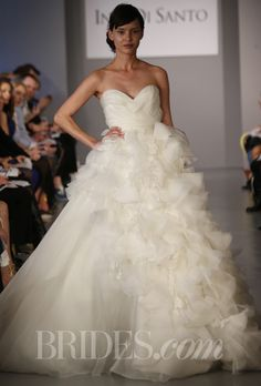 "Brides.com: Ines Di Santo - Spring 2014. ""Lourdes"" silk organza strapless full A-line wedding dress with deep sweetheart neckline, braided organza bodice and detachable textured peplum, Ines Di Santo"