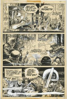 Joe Kubert art for page 4 of Our Army At War #286.