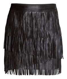 Black mini skirt with faux leather fringe. | Party in H&M
