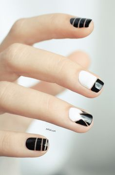 Sometimes absence makes the best accent, like in this nail pattern. #nailart #VioletHour