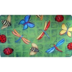 Bug Party Doormat by Custom Printed Rugs. $19.99. Design is stylish and innovative. Satisfaction Ensured.. Great Gift Idea.. Manufactured to the Highest Quality Available.. DM 05 Features: -Technique: Needle punch.-Material: Polyester.-Origin: United States.-Non-slip and urethane foam backing. Construction: -Construction: Machine made. Collection: -Collection: Door Mats.