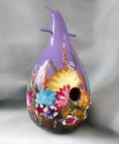 Lavender Bouquet Hand Painted Bird House Gourd by HouseOfGourds on Etsy