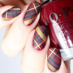 Pretty In Plaid – UberChic Nail Stamping Plate - Nageldesign Plaid Nail Designs, Plaid Nail Art, Plaid Nails, Holiday Nail Designs, Colorful Nail Designs, Cute Nail Designs, Sassy Nails, Cute Nails, Pretty Nails