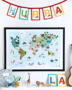 Weltkarten Poster für Kinder. Kinderzimmer Wandgestaltung.