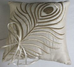 off white silk ring bearer pillow champagne peacock by comfyheaven,