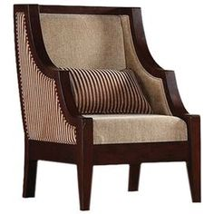 """Chenille-upholstered arm chair with a solid wood frame.  Product: ChairConstruction Material: Wood and chenilleColor: Brown and tanDimensions: 38"""" H x 29"""" W x 26.5"""" DFeatures:  Pillow included"""