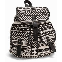 Nly Accessories Aztec Backpack ($36) ❤ liked on Polyvore featuring bags, backpacks, accessories, womens-fashion, aztec backpack, aztec print backpack, flap bag, flap backpack and draw string backpack