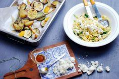 Pasta met citroenmarinade, geroosterde groenten en feta