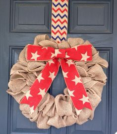 Summer Fourth of July Patriotic Burlap Wreath by BurlapandChevron,