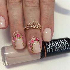 Unhas_decoradas unhas postiças, unhas francesinhas, u Cute Nails, Pretty Nails, Hair And Nails, My Nails, Nailart, Nail Art Pictures, Floral Nail Art, Flower Nails, Creative Nails