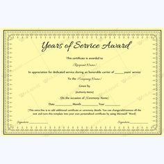 Years of service award 01 certificate and template best years of service award certificate award yearawardcertificate yearsofserviceaward yelopaper Images